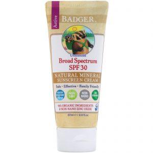 Badger Sunscreen Cream Unscented 2.9oz